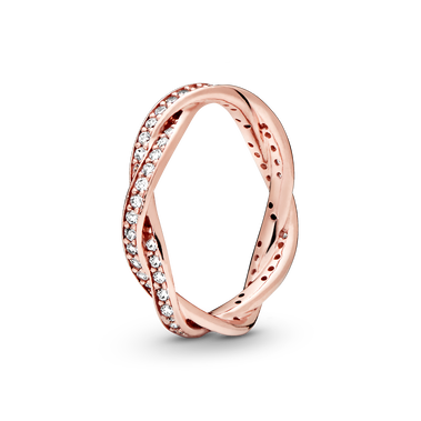 Sparkling Twisted Lines Ring