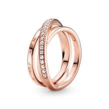 Crossover Pavé Triple Band Ring