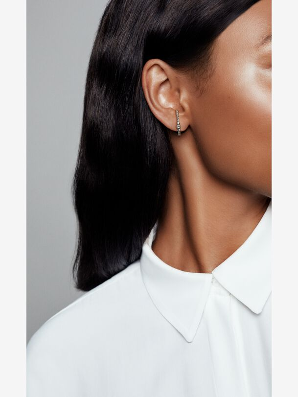 Row of Beads Single Stud Cuff Earring