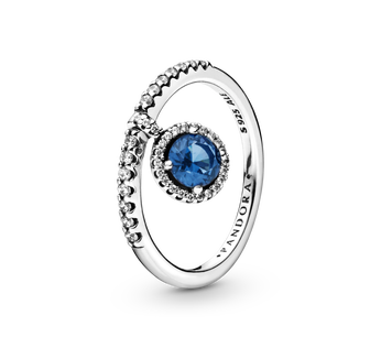 Dangling Blue Round Sparkle Ring