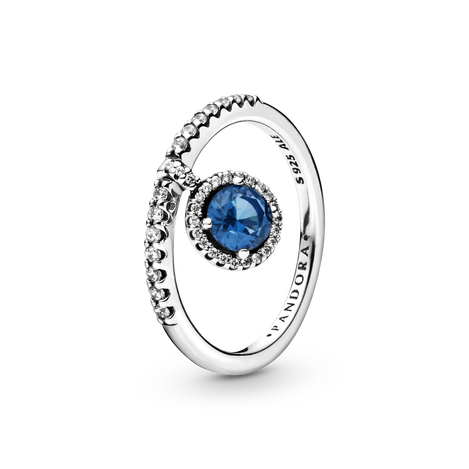 Blue Dangling Round Sparkle Ring