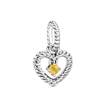 November Honey Coloured Heart Hanging Charm with Man-Made Honey Coloured Crystal