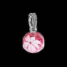 Pink Peach Blossom Flower Murano Glass Dangle Charm