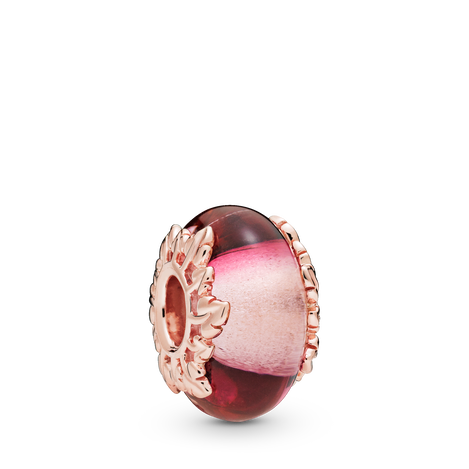 Pandora Rose Pink Murano Glass & Leaves Charm