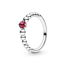 July Passionate Red Ring with Man-Made Red Crystal