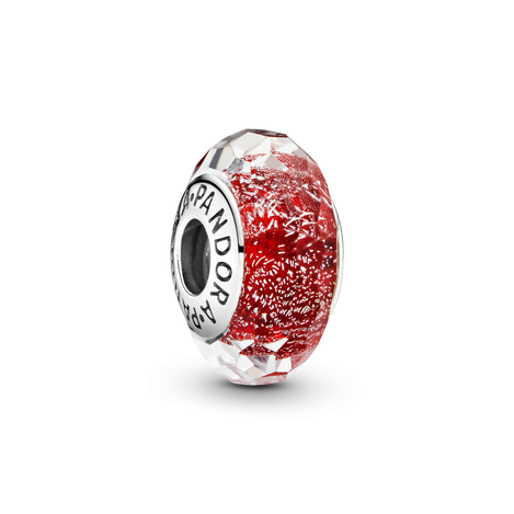 Faceted Red Murano Glass Charm