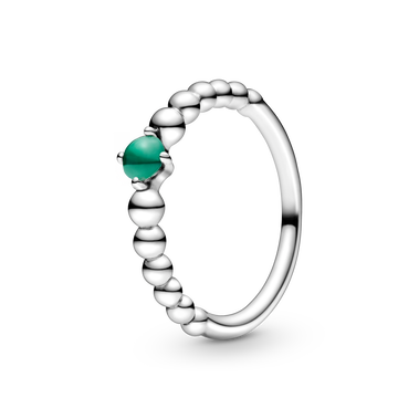 May Dark Green Ring with Man-Made Dark Green Crystal