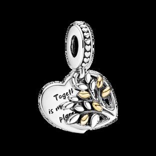 Two-Tone Family Tree Heart Dangle Charm