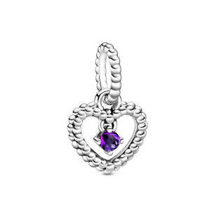 February Purple Heart Hanging Charm with Man-Made Purple Crystal