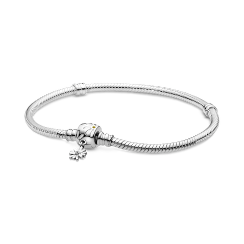 Pandora Moments Snake Chain Bracelet with Daisy Flower Clasp