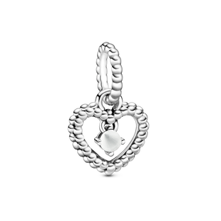 April Milky White Heart Hanging Charm with Man-Made Milky White Crystal