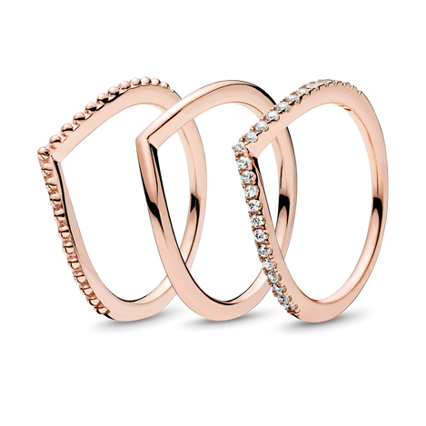 PANDORA Rose Wish Bone Ring Stack
