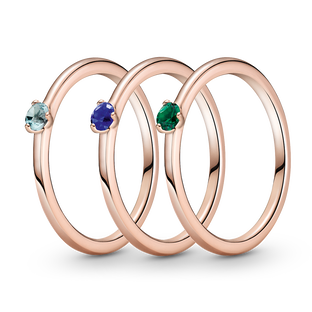Cool Hues Solitaire Ring Stack
