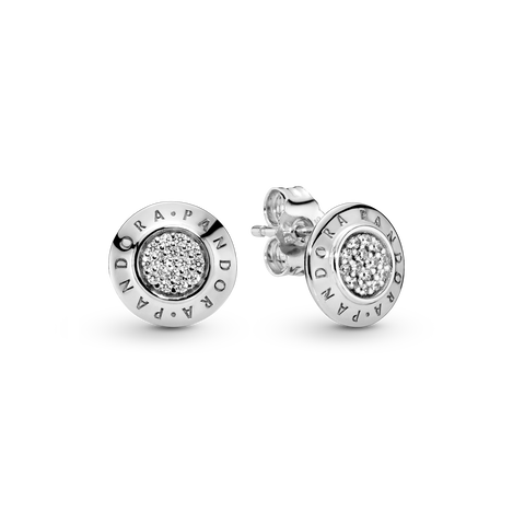 Sparkling Pandora Logo Stud Earrings
