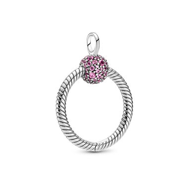 Pandora Moments Small Pink Pavé O Pendant