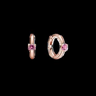 Pink Solitaire Huggie Hoop Earrings