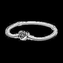 Pandora Moments Snake Chain Bracelet with Family Tree Heart Clasp