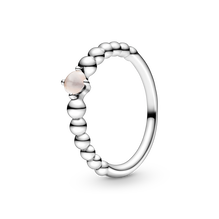 June Misty Rose Ring with Man-Made Misty Rose Crystal