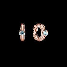 Light Blue Solitaire Huggie Hoop Earrings