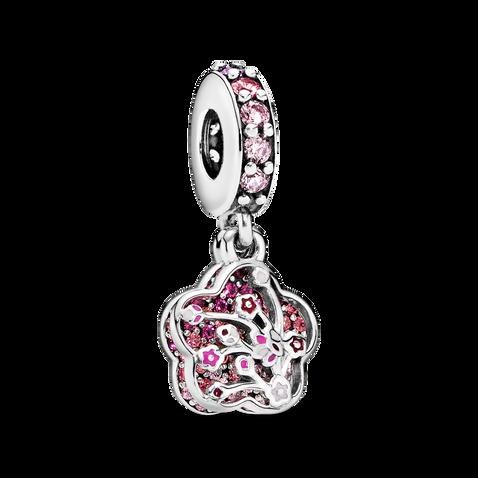 Pink Pavé Peach Blossom Flower Dangle Charm