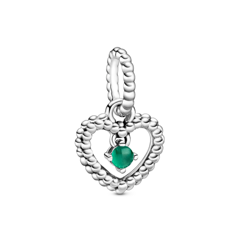 May Dark Green Heart Hanging Charm with Man-Made Dark Green Crystal