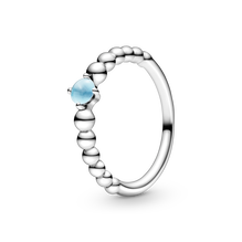 December Sky Blue Ring with Man-Made Sky Blue Crystal