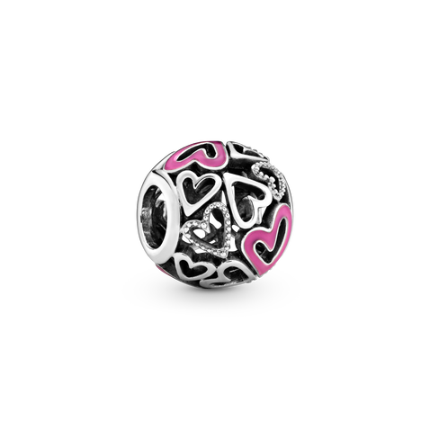 Pink Openwork Freehand Heart Charm
