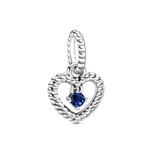 September Royal Blue Heart Hanging Charm with Man-Made Royal Blue Crystal