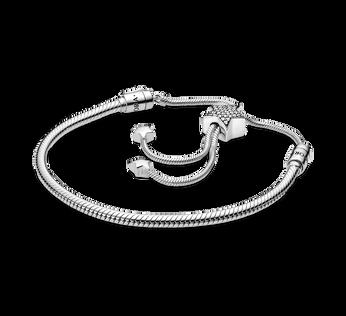 Pandora Moments Pavé Star and Snake Chain Sliding Bracelet