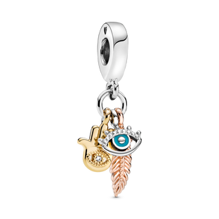 Hamsa, All-seeing Eye & Feather Spirituality Dangle Charm