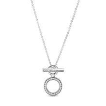 Pandora Logo and Circles T-bar Necklace