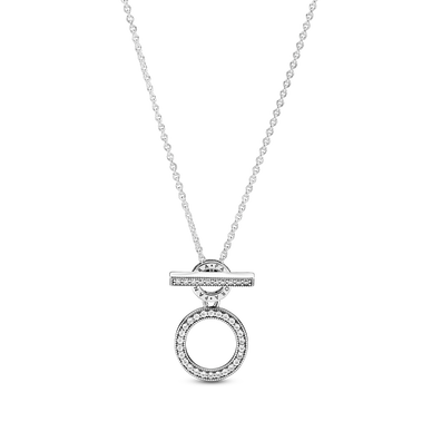 Pandora Logo and Circles T-bar Necklace