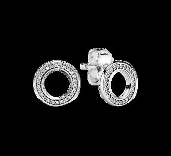 Forever PANDORA Silver & Zirconia Earring Studs