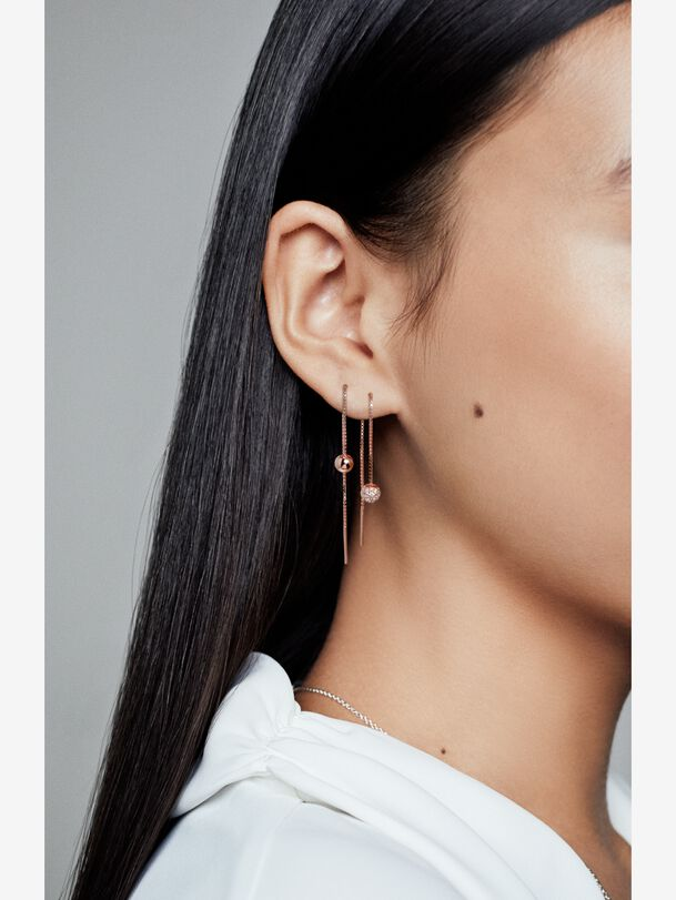 Pandora Rose Polished & Pavé Bead Dangle Earrings