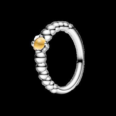 November Honey Coloured Ring with Man-Made Honey Coloured Crystal