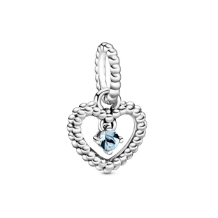 March Aqua Blue Heart Hanging Charm with Man-Made Water Blue Crystal