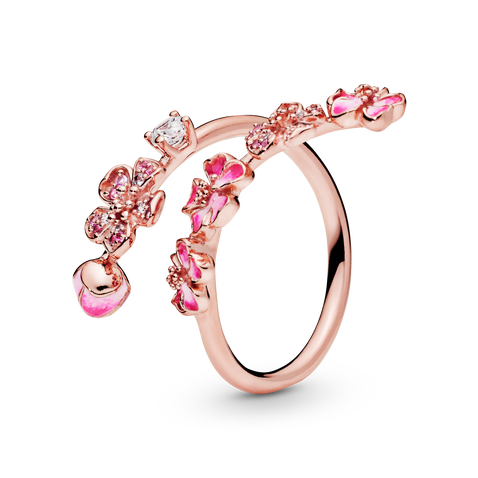 Pink Peach Blossom Flower Branch Open Ring