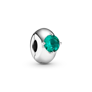 Green Round Solitaire Clip