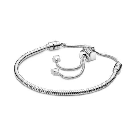 Pandora Moments Pavé Star and Snake Chain Sliding Bracelet
