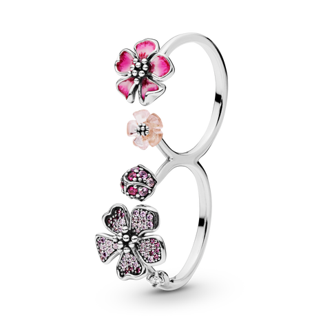 Peach Blossom Flowers Double Ring