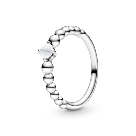 Milky White Beaded Ring