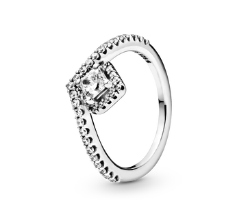 Square Sparkle Wishbone Ring