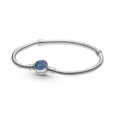 Pandora Moments Sparkling Blue Disc Clasp Snake Chain Bracelet