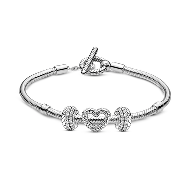 Snake Chain T-Bar Bracelet and Charms Set