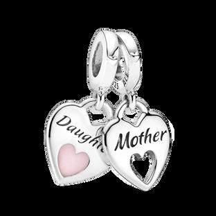 Mother & Daughter Double Heart Split Dangle Charm