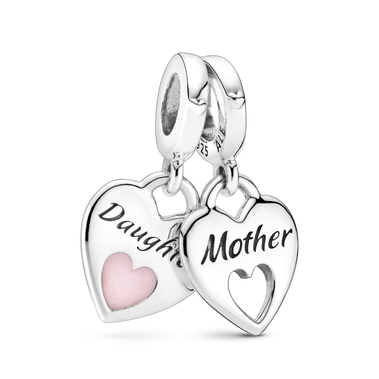 Mother & Daughter Double Heart Split Dangle Charm