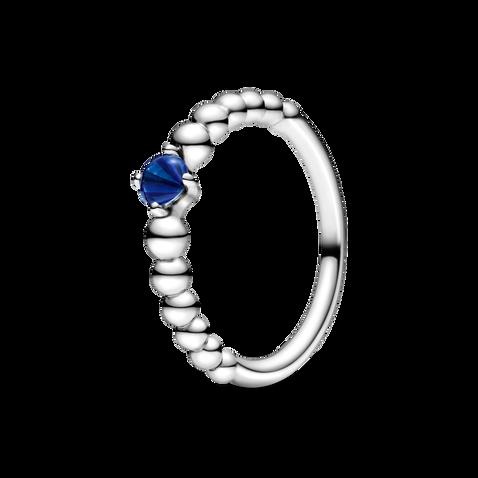 September Royal Blue Ring with Man-Made Royal Blue Crystal