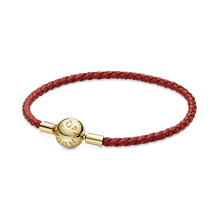 Pandora Moments Red Woven Leather Bracelet