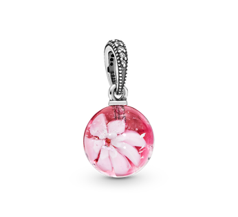 Peach Blossom Flower Murano Hanging Charm