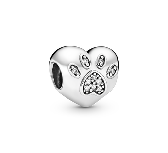 I Love My Pet Paw Print Heart Charm